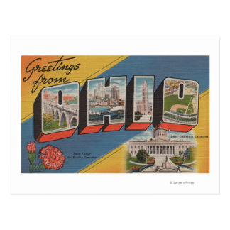Ohio (State Capital/Flower) - Large Letter Scene Postcard