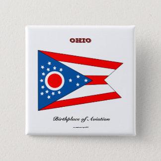 Ohio state flag and slogan 15 cm square badge