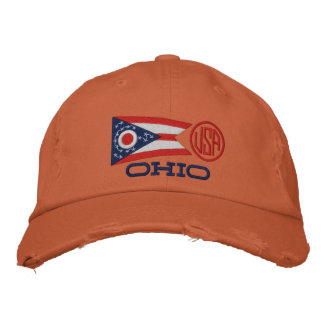 Ohio State Flag Design Embroidered Hat