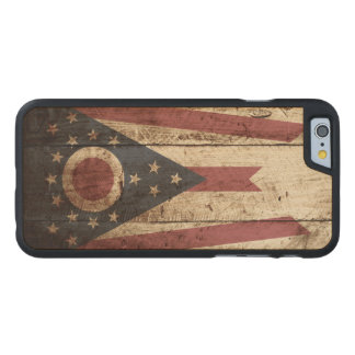 Ohio State Flag on Old Wood Grain Carved Maple iPhone 6 Case