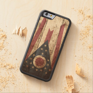 Ohio State Flag on Old Wood Grain Maple iPhone 6 Bumper