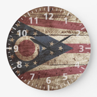 Ohio State Flag on Old Wood Grain Wall Clocks