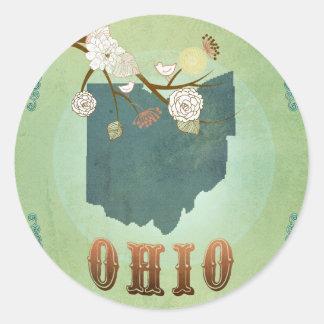 Ohio State Map – Green Classic Round Sticker