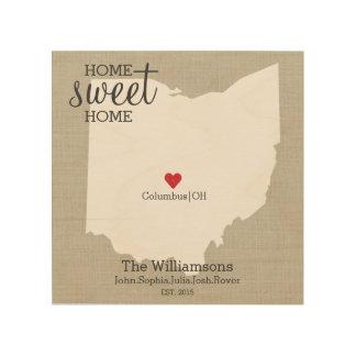Ohio State Map Love Custom Family Name Established Wood Wall Art