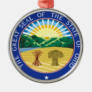 Ohio state seal america republic symbol flag Silver-Colored round decoration