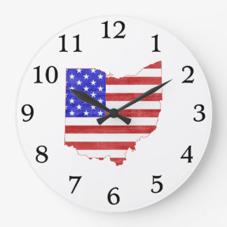 Ohio state shaped USA flag Clock