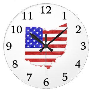 Ohio state shaped USA flag Large Clock