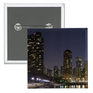 Ohio Street Beach in downtown Chicago at night, 15 Cm Square Badge