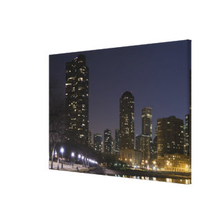 Ohio Street Beach in downtown Chicago at night, Gallery Wrap Canvas