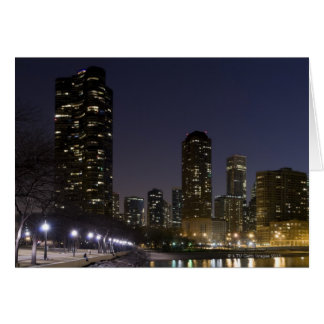 Ohio Street Beach in downtown Chicago at night Cards