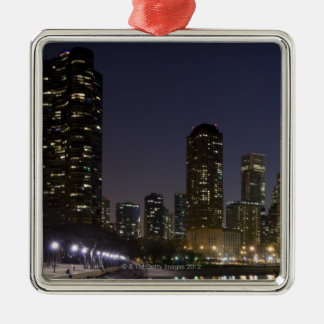 Ohio Street Beach in downtown Chicago at night, Square Metal Christmas Ornament
