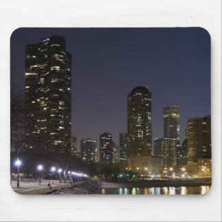 Ohio Street Beach in downtown Chicago at night, Mouse Pad