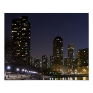Ohio Street Beach in downtown Chicago at night, Poster
