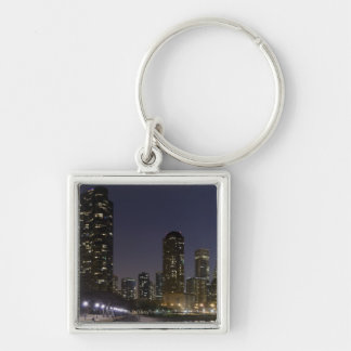 Ohio Street Beach in downtown Chicago at night, Silver-Colored Square Key Ring
