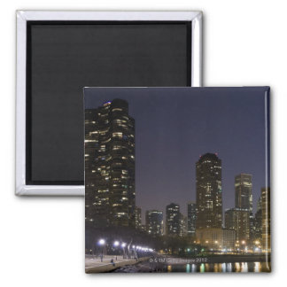 Ohio Street Beach in downtown Chicago at night, Square Magnet
