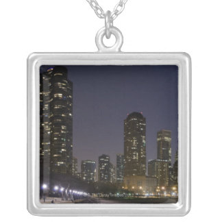 Ohio Street Beach in downtown Chicago at night, Square Pendant Necklace