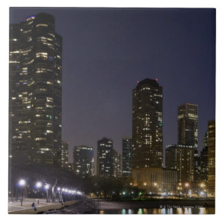 Ohio Street Beach in downtown Chicago at night, Large Square Tile