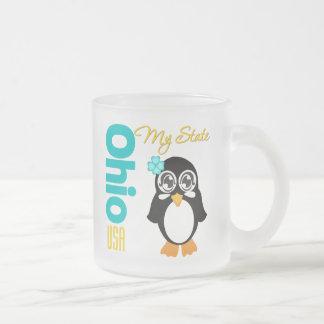 Ohio USA Penguin Frosted Glass Mug