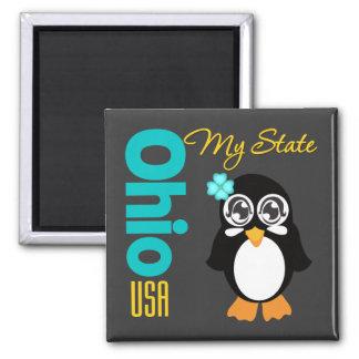 Ohio USA Penguin Square Magnet