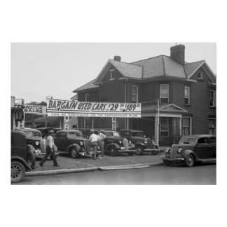 Ohio Used Car Lot, 1938 Poster