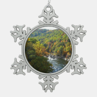 Ohiopyle River in Fall II Pennsylvania Autumn Snowflake Pewter Christmas Ornament
