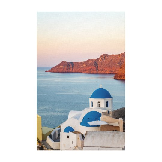 Oia Blue Domed Church at Sunrise Canvas Print