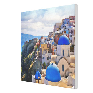 Oia, Santorini. Greece. Oil Painting. Canvas Print