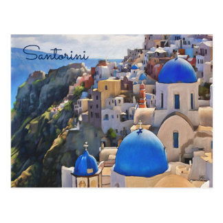 Oia, Santorini. Greece. Oil Painting. Postcards