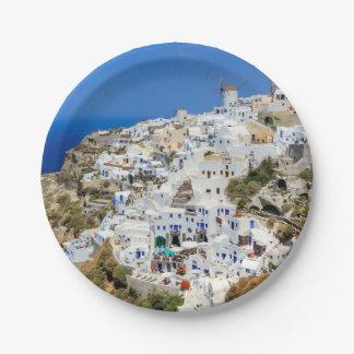 Oia village on Santorini island, north, Greece 7 Inch Paper Plate