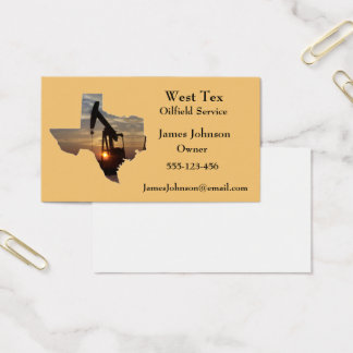 Oil And Gas Industry Business Cards Texas Shape