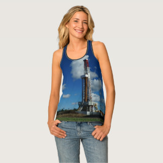 Oil and Gas Rig Blue Sky Print Tank Top