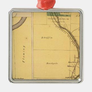 Oil Creek Pennsylvania Atlas Map Silver-Colored Square Decoration