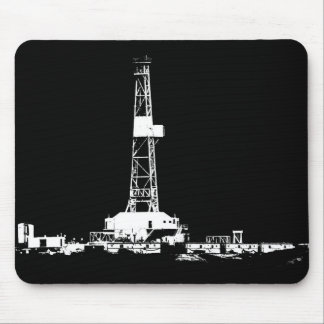 Oil Drilling Rig in White on Black Mouse Pad