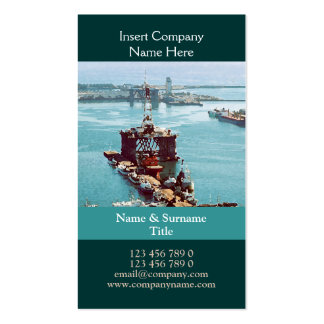 Oil drilling rig watercolor customizable business cards