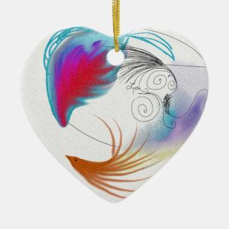 Oil Feathers Ceramic Heart Decoration