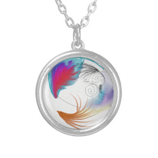 Oil Feathers Round Pendant Necklace