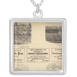 Oil fields, residence silver plated necklace