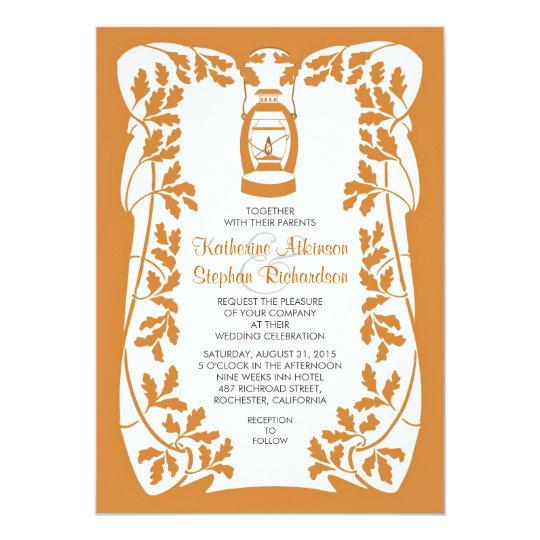 Oil Lantern and Oak Tree Leaves Wedding Invitation