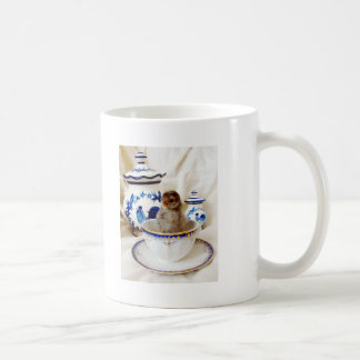 Oil Paint Effect Chick and Tea Cup In Studio Basic White Mug