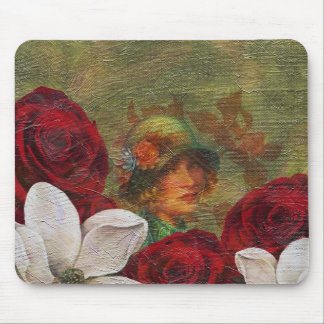 Oil Paint Vintage Woman Flowers Mouse Pad