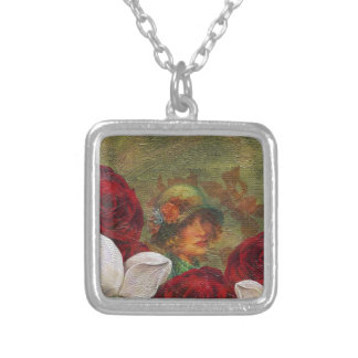 Oil Paint Vintage Woman Flowers Square Pendant Necklace