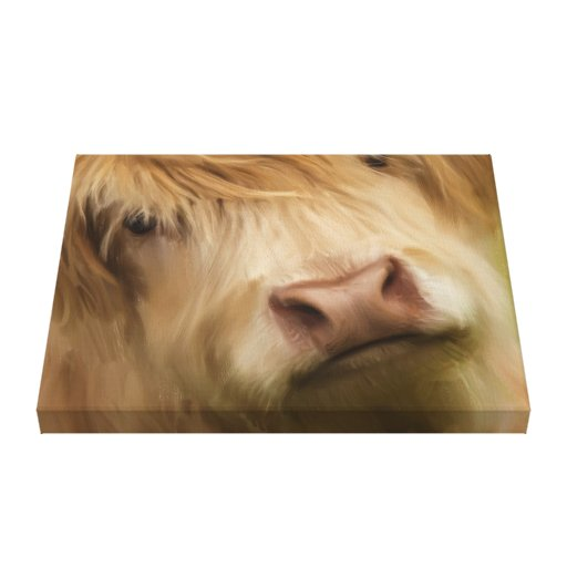 Oil Painted Highland Cow Gallery Wrap Canvas