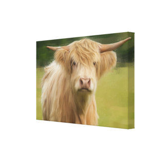 Oil Painted Highland Cow Large Framed Print Stretched Canvas Print