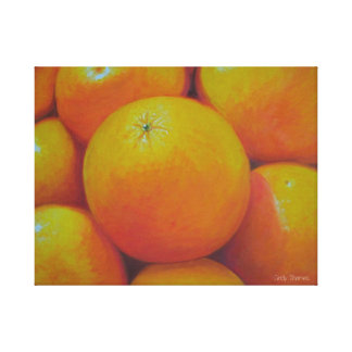 oil painted oranges stretched canvas print
