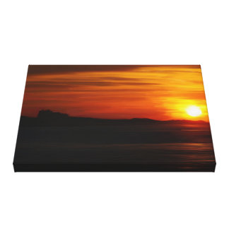 Oil Painted Sunset Over Bamburgh Castle Stretched Canvas Print