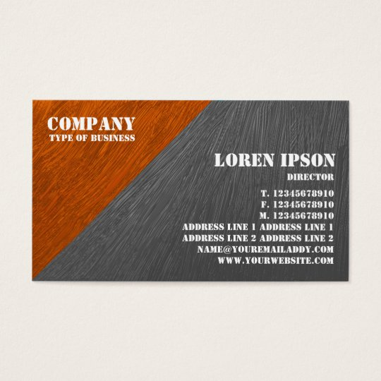 oil painted triangular corner orange and grey business card