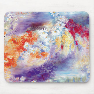 Oil painting flowers abstract mouse pad