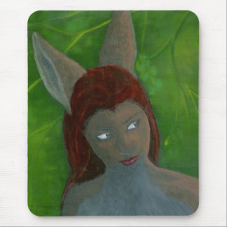 oil painting Furry Anthropomorphic Rabbit girl Mouse Pad