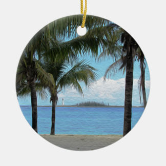 Oil Painting Nassau Bahamas Round Ceramic Decoration