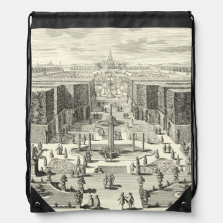 Oil Painting of Fountains at Garden of Versailles Drawstring Bag